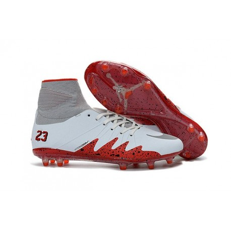 Nike Chaussure Hypervenom Phantom 2 FG ACC Neymar X Jordan NJR Blanc Rouge