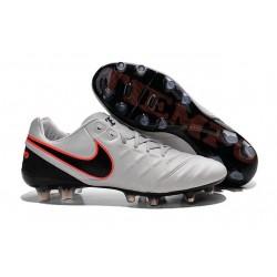 Chaussures de Football Cuir Kangourou Nike Tiempo Legend Vi FG - Blanc Noir