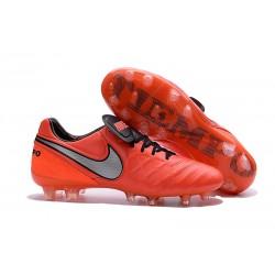 Chaussures de Football Cuir Kangourou Nike Tiempo Legend Vi FG - Orange Blanc