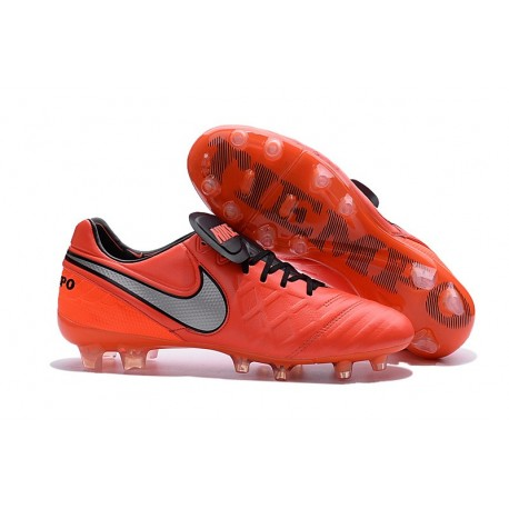 Chaussures de Football Cuir Kangourou Nike Tiempo Legend Vi FG - Orange Blanc