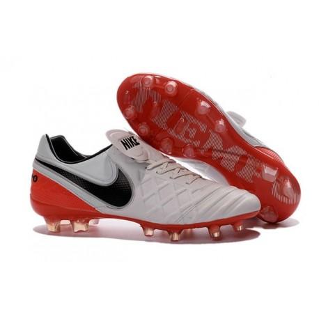 Chaussures de Football Cuir Kangourou Nike Tiempo Legend Vi FG - Blanc Rouge Noir