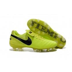 Chaussures de Football Cuir Kangourou Nike Tiempo Legend Vi FG - Volt Noir