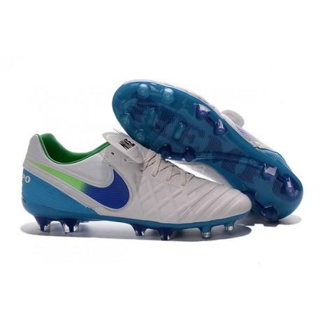 Chaussures de Football Cuir Kangourou Nike Tiempo Legend Vi FG - Blanc Bleu