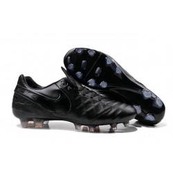 Chaussures de Football Cuir Kangourou Nike Tiempo Legend Vi FG - Tout Noir