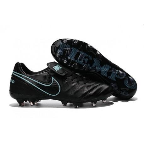 Nike Tiempo Legend 6 FG ACC - Cuir Homme Crampon Foot - Noir Bleu