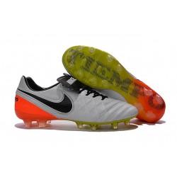 Nike Tiempo Legend 6 FG ACC - Cuir Homme Crampon Foot - Blanc Orange Noir