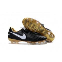 Nike Tiempo Legend 6 FG ACC - Cuir Homme Crampon Foot - Noir Blanc Or