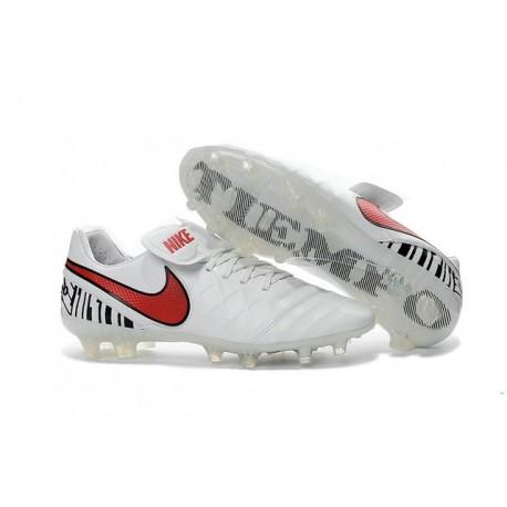 Nike Tiempo Legend 6 FG ACC - Cuir Homme Crampon Foot - Blanc Rouge