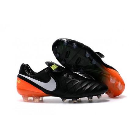 Nike Tiempo Legend 6 FG ACC - Cuir Homme Crampon Foot - Noir Orange Blanc