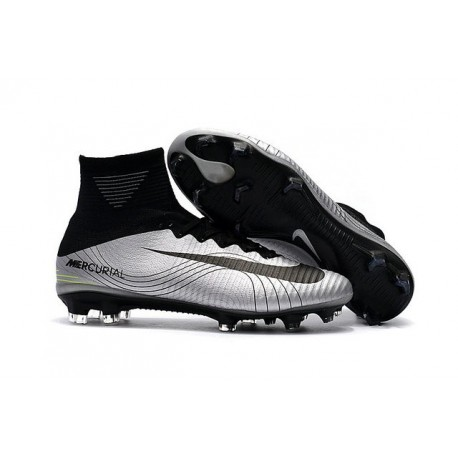 Chaussures Football Nouvelles Nike Mercurial Superfly V FG ACC -Argent Noir