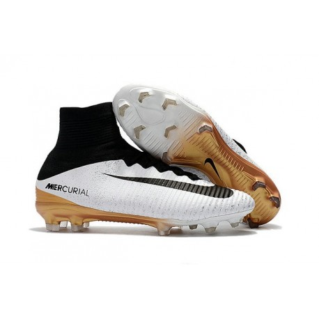 Chaussures Football Nouvelles Nike Mercurial Superfly V FG ACC - Blanc Or Noir