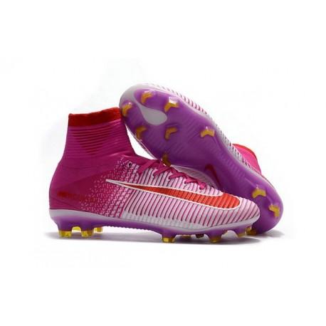 Nike Mercurial Superfly V FG ACC Ronaldo Crampons - Rouge Blanc Rose