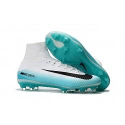 Chaussures Football Nouvelles Nike Mercurial Superfly V FG ACC -Blanc Bleu Noir