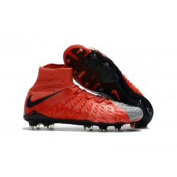 Chaussure de Football - Nike HyperVenom Phantom III FG Homme - Rouge Gris