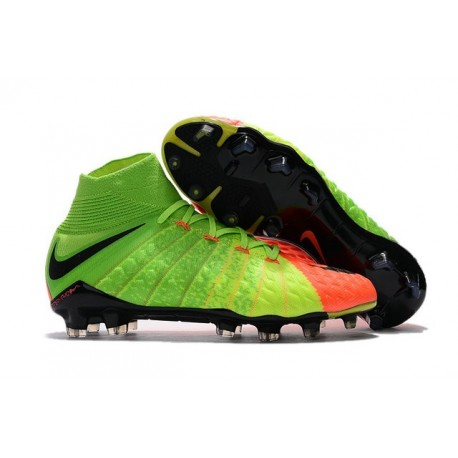 Chaussure de Football - Nike HyperVenom Phantom III FG Homme - Vert Orange Noir