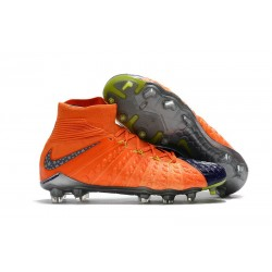 Chaussure de Football - Nike HyperVenom Phantom III DF FG Homme - Orange Bleu