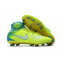 Crampons Football Nouvel Nike Magista Obra 2 FG Volt Blanc Bleu