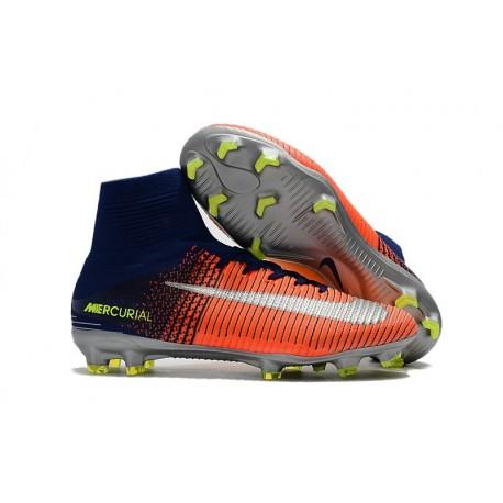 Chaussures de Football Nouvelles 2017 Nike Mercurial Superfly 5 FG  - Carmin Bleu Chrome