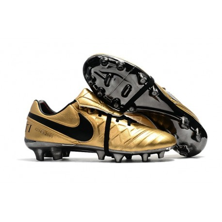 Chaussure Nike Tiempo Totti X Roma FG Cuir Kangourou -Or