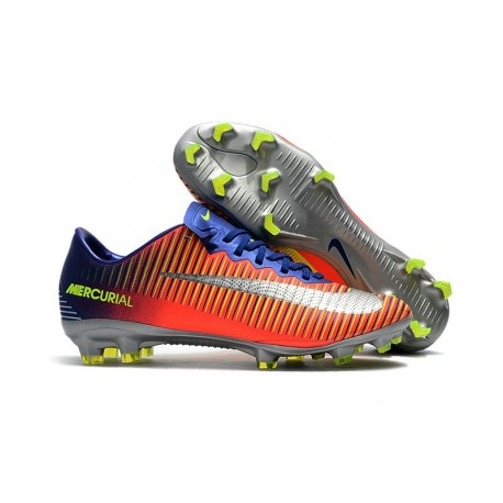 Chaussure Ronaldo 2017 Nike Mercurial Vapor XI FG Orange Chrome Bleu