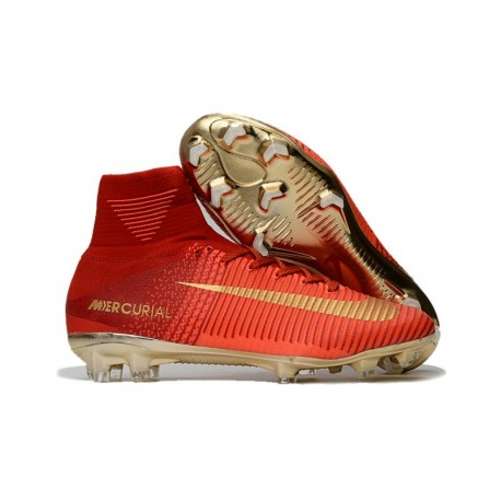 Chaussures de Football Nouvelles 2017 Nike Mercurial Superfly 5 FG  - Rouge Or