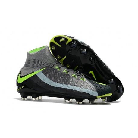 Nike HyperVenom Phantom 3 DF FG Nouvelle 2017 Crampons Foot Gris Noir Vert