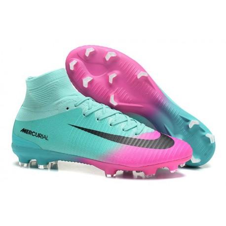 Nike Mercurial Superfly V FG Nouveaux Crampon de Foot - Bleu Rose