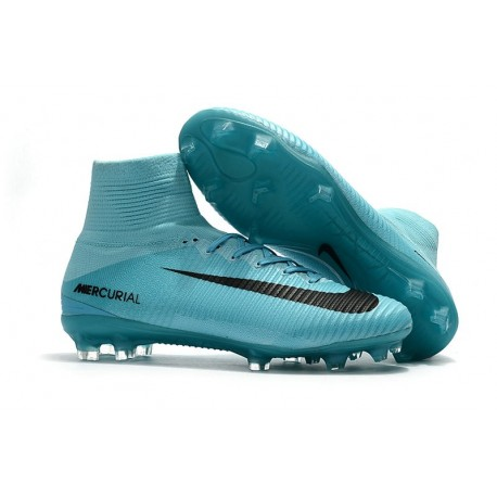 Nike Mercurial Superfly V FG Nouveaux Crampon de Foot - Bleu Noir