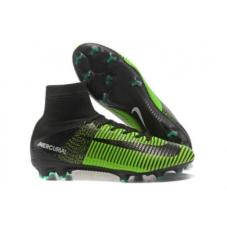 Nike Mercurial Superfly V FG Nouveaux Crampon de Foot - Vert Noir
