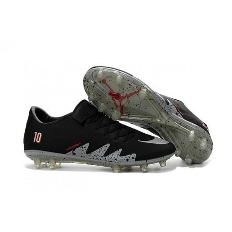 Chaussure a Crampon Nike Hypervenom Phinish FG Neymar X Jordan NJR Noir Argent