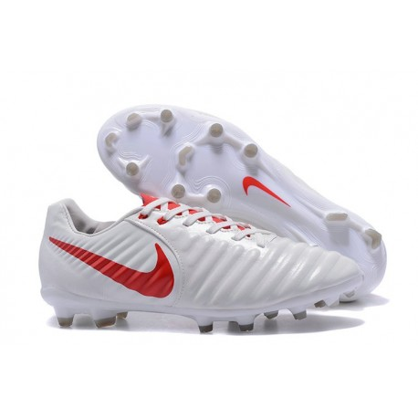 Chaussure Nike Tiempo Legend VII FG Cuir Kangourou - Blanc Rouge