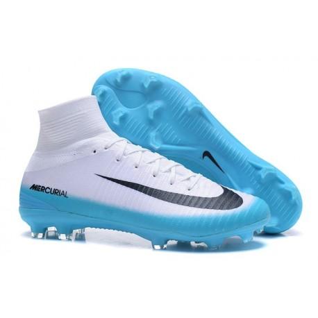 Nike Mercurial Superfly V FG Nouveaux Crampon de Foot - Blanc Bleu Noir