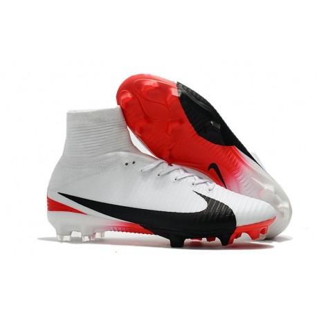 Nike Mercurial Superfly V FG Nouveaux Crampon de Foot - Blanc Noir Rouge