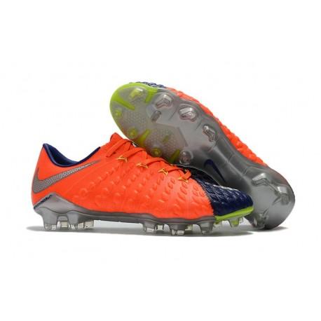 Crampons de Football 2017 Nike Hypervenom Phantom III FG Orange Bleu Metallico
