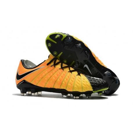 Crampons de Football 2017 Nike Hypervenom Phantom III FG Jaune Noir Argent