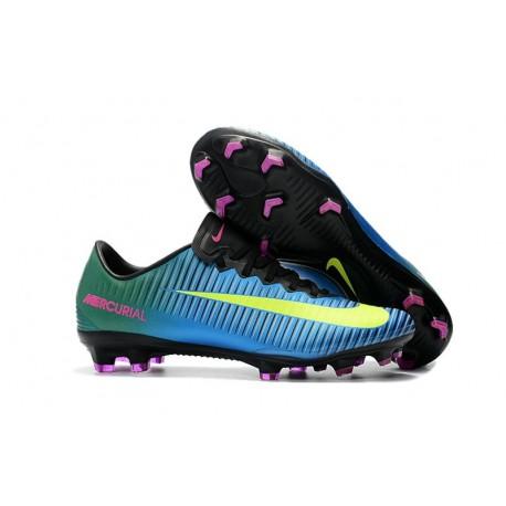 Nike Mercurial Vapor XI FG Homme Chaussures de Foot - Bleu Jaune