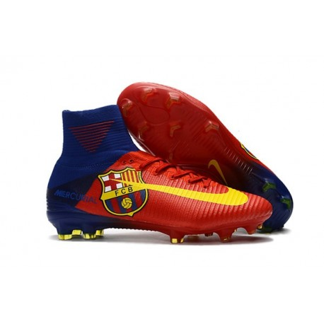 Crampons Nouveaux Homme Nike Mercurial Superfly 5 FG - Barcelona Rouge