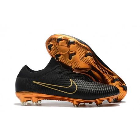 Crampons de Football Nike Mercurial Vapor Flyknit Ultra FG - Noir Or