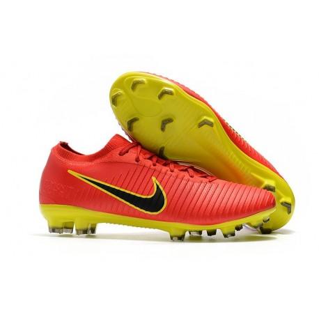 Crampons de Football Nike Mercurial Vapor Flyknit Ultra FG - Rouge Jaune Noir