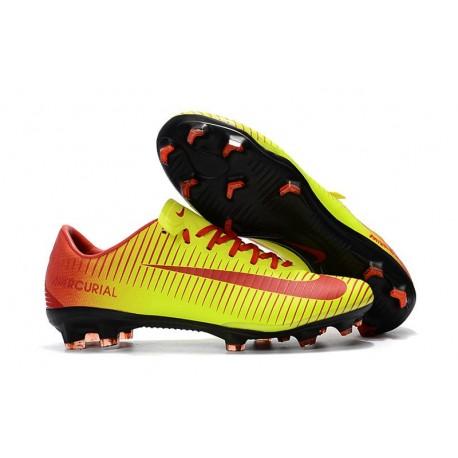 Crampons Football Nouvelles Nike Mercurial Vapor XI FG Jaune Rouge
