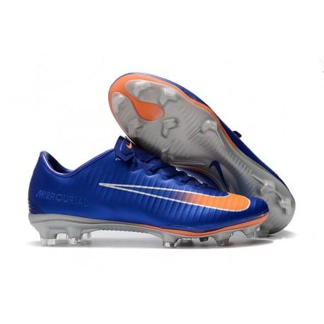 Crampons Football Nouvelles Nike Mercurial Vapor XI FG Bleu Orange