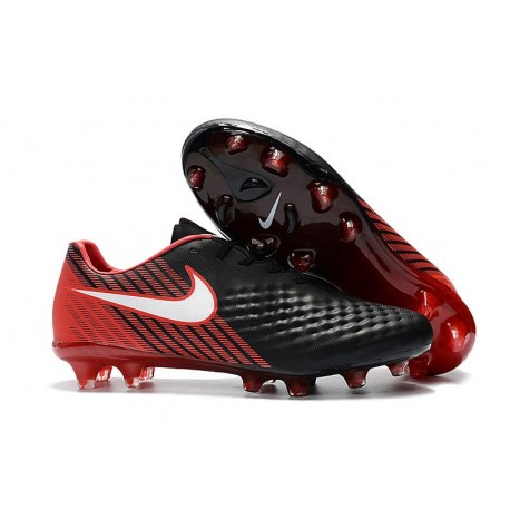 Nike Magista Opus FG ACC Chaussures de Football Noir Rouge
