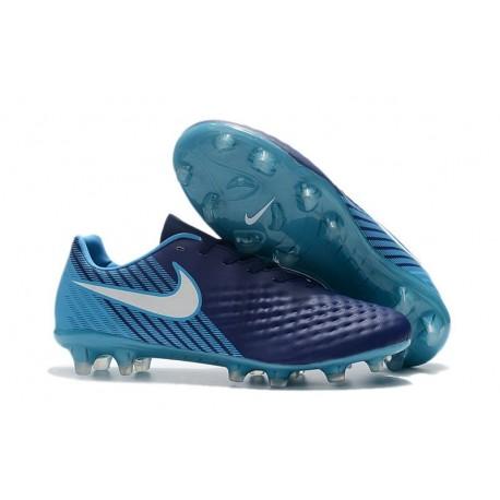 Nike Magista Opus FG ACC Chaussures de Football Bleu Blanc