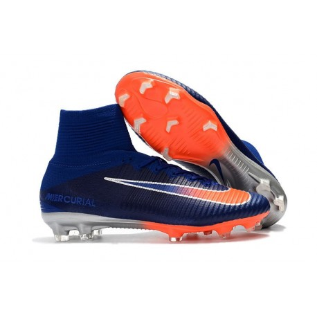 Nike Mercurial Superfly V Dynamic Fit FG Chaussure - Bleu Orange Blanc