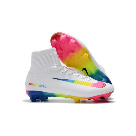 Nike Mercurial Superfly V Dynamic Fit FG Chaussure - Blanc Multicolore
