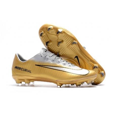 Crampons Football Nouvelles Nike Mercurial Vapor XI FG Or Blanc