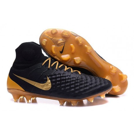 Chaussures football Nike Magista Obra II FG Noir Or