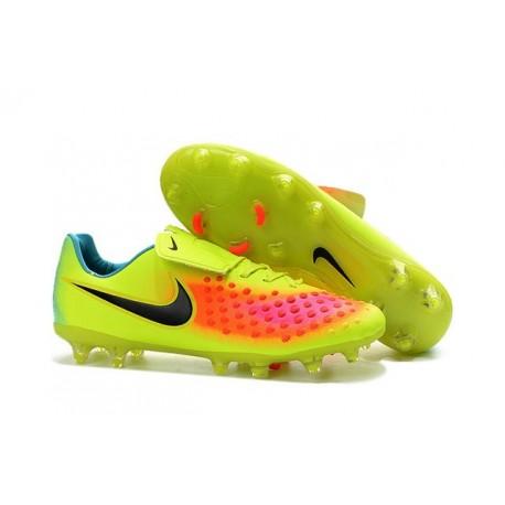 Nike Magista Opus FG ACC Chaussures de Football Jaune Orange Noir