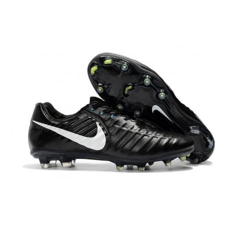 Nike Tiempo Legend VII FG Cuir Crampons de Football - Noir Blanc