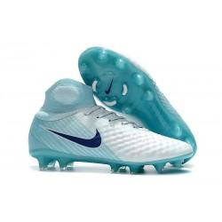 Nike Magista Obra II FG Nouveaux Chaussure de Foot - Blanc Bleu